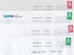 France Roulette Lot De 4 Enveloppes Avec Timbres  Marianne L'Engagée  ( 2 Gommées 5255 Et 5256 Et 2 PRO 1601 Et 1602) - Coil Stamps
