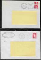 France Roulette Marianne De Sabine 2063 Et 1981A Sur Enveloppes Avec Découpe à Cheval Belles Variétées - Roulettes
