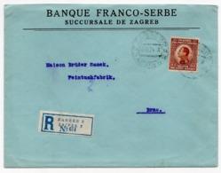 1924 YUGOSLAVIA, CROATIA, ZAGREB TO BRNO, REGISTERED MAIL, POSTER STAMP, FRANCO -SERBIA BANK, ZAGREB BRANCH - 1919-1929 Kingdom Of Serbs, Croats And Slovenes