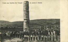 Greece, SAMOS, Visit To The Excavations Of The Temple Of Juno (1910s) Postcard - Greece