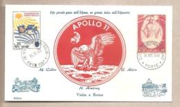 Italia/Vaticano - Busta Commemorativa Della Visita Dell'equipaggio Dell'Apollo 11 A Roma E Vaticano - 1969 - FDC & Gedenkmarken