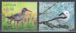 Lettland Latvia 2018 Tiere Fauna Animals Vögel Birds Oiseaux Aves Uccelli Rotschenkel Schwanzmeise, Mi. 1046-7 ** - Lettonie