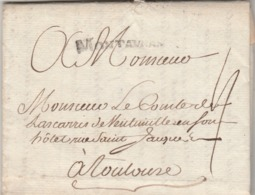 LAC Marque Postale MONTAUBAN Tarn Et Garonne 13/6/1775 à Comte De Lascaris De Vintimille Toulouse Haute Garonne - Marcofilie (Brieven)