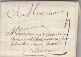 LAC Marque Postale MONTAUBAN Tarn Et Garonne 22/6/1775 à Comte De Lascaris De Vintimille Toulouse Haute Garonne - Marcofilie (Brieven)