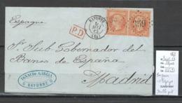 France - Lettre - Bayonne Pour Madrid - Espagne - Double Port - 1863 - Yvert 23 - Marcofilie (Brieven)