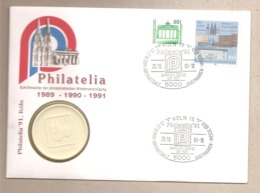 Germania - Busta Con Annullo Speciale E Medaglia Commemorativa Della Fiera Inter.le Del Francobollo Di Colonia - 1991 - Duitsland