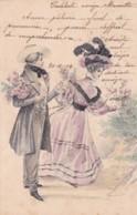 CPA 1904 - ILLUSTRATEUR  - COUPLE QUI CONFECTIONNE UN BOUQUET DE ROSES   (lot Pat 89/1) - Illustrateurs & Photographes