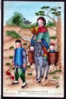 RARE CPA ANCIENNE CHINE-  ILLUSTRATION AQUARELLE- VIE EN CHINE DÉBUT XXe.-  BRU ALLANT EN VISITE - China
