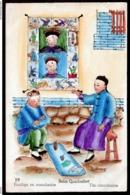 RARE CPA ANCIENNE CHINE-  ILLUSTRATION AQUARELLE- VIE EN CHINE DÉBUT XXe.-  ESCULAPE EN CONSULTATION - China