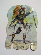 PLAQUETTE EN TOLE PUBLICITAIRE COLLECTION MERE PICON - SOLDATS DE L' EMPIRE. LE GENERAL BONAPARTE A ARCOLE. N° 27 - Advertising