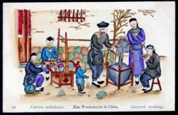 RARE CPA ANCIENNE CHINE-  ILLUSTRATION AQUARELLE- VIE EN CHINE DÉBUT XXe.-  CUISINE AMBULANTE - China