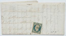Lettre Avec Napoleon N°10, Cachet Losange PC 2014 Moirans Du Jura à Lyon, Peu Courant ! 1854 - 1852 Luis-Napoléon