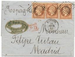 Pli De Bayonne Pour Madrid De 1862 40c (n°16) X 3 Excellent état  Triple Port Sur Tarif Espagne - Marcofilia (sobres)