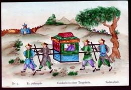 RARE CPA ANCIENNE CHINE-  ILLUSTRATION AQUARELLE- VIE EN CHINE DÉBUT XXe.-  PROMENADE EN PALANQUIN - China