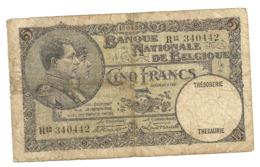BILLET - 5 Francs/Frank, Banque Nationale De Belgique / Nationale Bank Van Belgie,1930 RARE. - Belgique