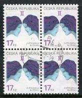 CZECH REPUBLIC 2002 Zodiac Definitive 17 Kc Used Block Of 4.  Michel 329 - Repubblica Ceca