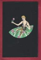 Lyett.  Art Déco.  Aquarelle Sur Fond Noir, Genre Velours. Femme Girl  Avec Rose. N°4394. 2 Scans. - Illustrateurs & Photographes
