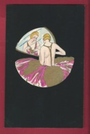 Lyett. Illustration Art Déco.  Aquarelle, Pochoir Sur Fond Noir, Genre Velours. Femme Girl. Miroir.  N°4394. 2 Scans. - Andere Illustrators