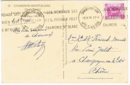 KRAG DE CHAMONIX JEUX MONDIAUX FIS FEV 37 SUR CPA - Marcophilie (Lettres)