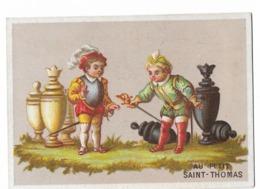 CARD SCACCHI CROMOLITO 7X9,7 ONORE A SCACCO MATTO NERO  PUB. AU PETIT S.THOMAS PARIS-2- DUE SCANNER -0882-29256-257 - Ajedrez