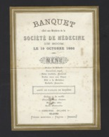 "BANQUET OFFER AUX MENBRES DE LA "" SOCIETE DE MEDECINE "" DE BOOM * 19/10/1896 * BOOM * 19.5 X 14 CM - Menus"