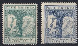 ERITREA, COLONIA ITALIANA - 1928 - Lotto Di 2 Valori Nuovi MH: Yvert 120 E 123. - Erythrée