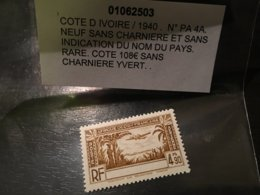 Colonies Cote D'ivoire Sans Legende 1940 PA N° 4A Neuf ** MNH ** YT 100€ - Costa D'Avorio (1892-1944)
