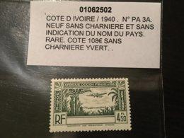 Colonies Cote D'ivoire Sans Legende 1940 PA N° 3A Neuf ** MNH ** YT 100€ - Costa D'Avorio (1892-1944)
