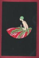 Lyett. Art Déco. Aquarelle, Pochoir Sur Fond Noir, Genre Velours. Jeune Femme Style Orientale,turban. - Other Illustrators