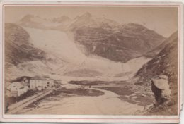 Suisse   Hotel Et Glacier Du Rhone  Photo XIX°   Format 15,5 X 9,5  Photo A D BRAUN A Dornach(alsace) - Anciennes (Av. 1900)