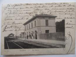 Cpa, Carte Primaire, Trés Belle Vue Animée, Grigny, La Gare - Grigny