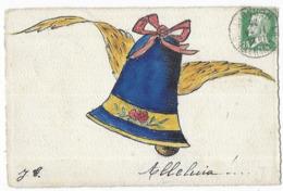 Paques Carte Peinte à La Main Alleluia !...Cloche Avec Des Ailes - Pâques