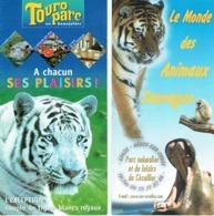 Tigre Animaux : 2 Dépliants Pour Les Parcs Animaliers De Touroparc Et Le Monde De Animaux Sauvages - Dépliants Touristiques