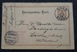 Postkarte 1896, GRAZ STADT Nach  COETHEN - Briefe U. Dokumente