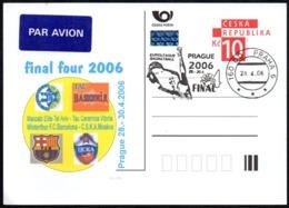 CZECH REPUBLIC PRAGUE 2006 - BASKETBALL FINAL FOUR 2006 - POSTAL STATIONARY - MACCABI / TAU / BARCELONA / CSKA - Pallacanestro