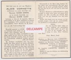 DOODSPRENTJE CORNETTE ALOIS WEDUWNAAR SIERENS EN CLOET GITS PITTEM 1870 - 1957   Bewerkt Tegen Kopieren - Images Religieuses
