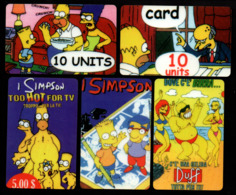 Italie / Anglais / USA ? - 5 Cartes Des Simpson - ???? (verso Voir Scan) - Télécartes