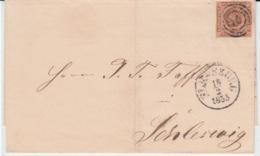 DENMARK MICHEL 1 USED COVER 18/02/1855 FLENSBORG (FLENSBOURG) TO SLESVIG (SCHLESWIG)) - Brieven En Documenten