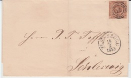 DENMARK MICHEL 1 USED COVER 18/02/1855 FLENSBORG (FLENSBOURG) TO SLESVIG (SCHLESWIG)) - Lettres & Documents