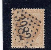 France - Napoléon III Lauré - N°Y.T 28A - 10c Bistre - Oblit. Losange GC 3982 - 1863-1870 Napoleon III With Laurels