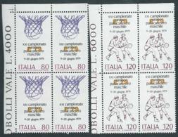 Italia, Italy, Italien, Italie 1979; Campionato Europeo Di Pallacanestro. Serie Completa In Quartine D' Angolo. - Pallacanestro
