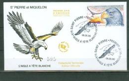 St Pierre & Miquelon C75 Bald Eagle Bird Bird Day Of Issue Cancel With Cachet 1998 A04s - Luchtpost