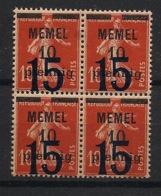 Memel - 1921-22 - N°Yv. 38 - Semeuse 15 Sur 10p Sur 10c Rouge - Bloc De 4 - Neuf Luxe ** / MNH / Postfrisch - Memel (1920-1924)