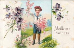 CPA  Carte Gaufrée Meilleurs Baisers Fleurs - Fleurs, Plantes & Arbres