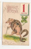 CPA  Carte Gaufrée 1 Janvier Bonne Année Fer à Cheval Cochon - Nouvel An