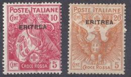 ERITREA, COLONIA ITALIANA - 1916 - Lotto Di 2 Valori Nuovi MH: Yvert 41 E 43. - Erythrée