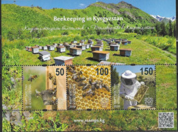 KYRGYZSTAN, 2019, MNH, BEEKEEPING IN KYRGYZSTAN, BEES, MOUNTAINS, SHEETLET OF 3v - Abejas