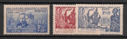 Inde - 1938-39 - N°Yv. 115 à 117 - Complet - 3 Valeurs - Curie / New York - Neuf Luxe ** / MNH / Postfrisch - India (1892-1954)