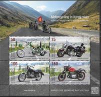 KYRGYZSTAN, 2019, MNH,MOTORCYCLES, MOTORCYCLING IN KYRGYZSTAN, CHOPPERS, YAMAHA,  MOUNTAINS, SHEETLET OF 4v - Motos
