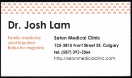 Dr. Josh Lam, Calgary (Alberta) (VC670) - Visiting Cards